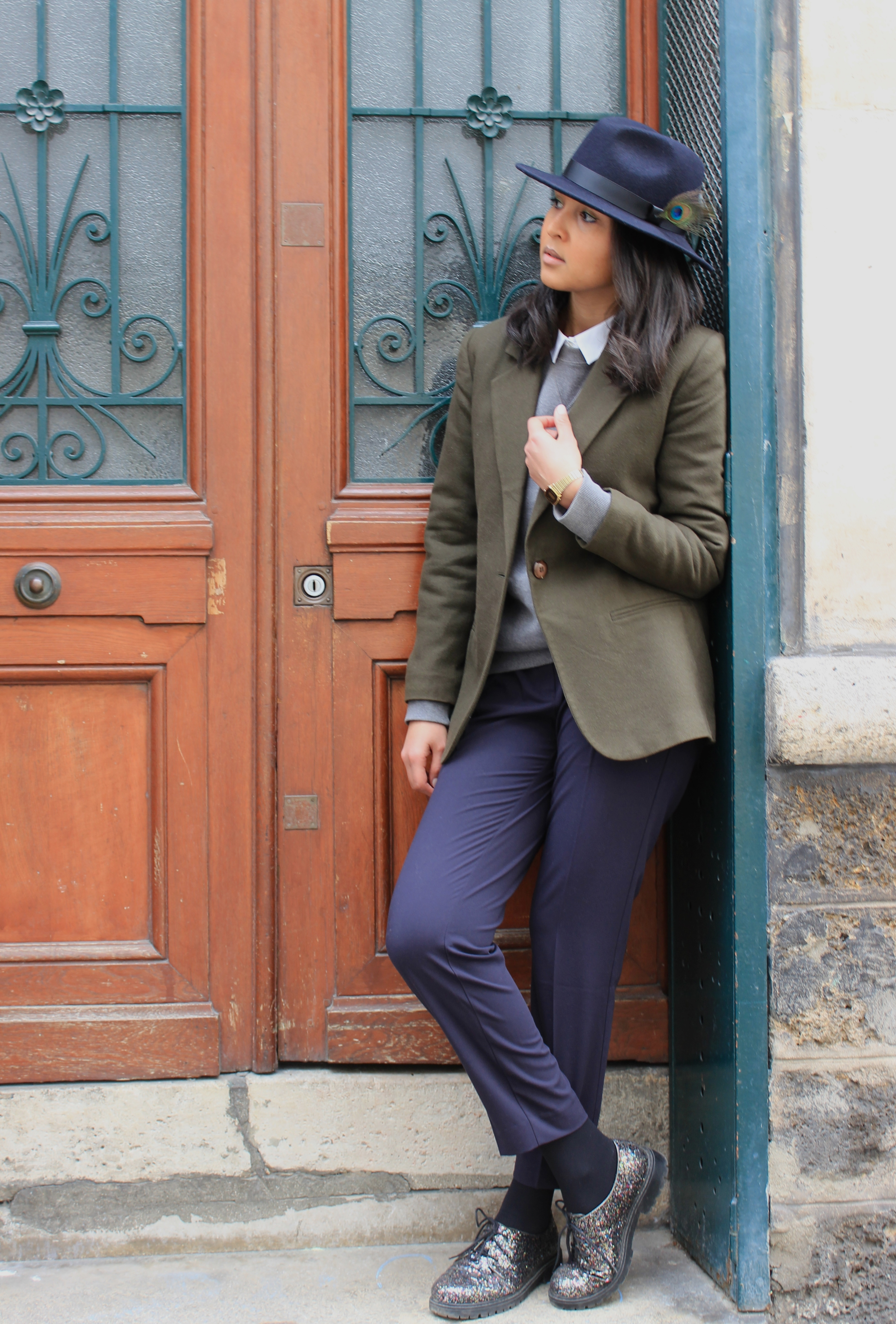 Like a sir-look-peacock hat kaki blazer navy pants 1