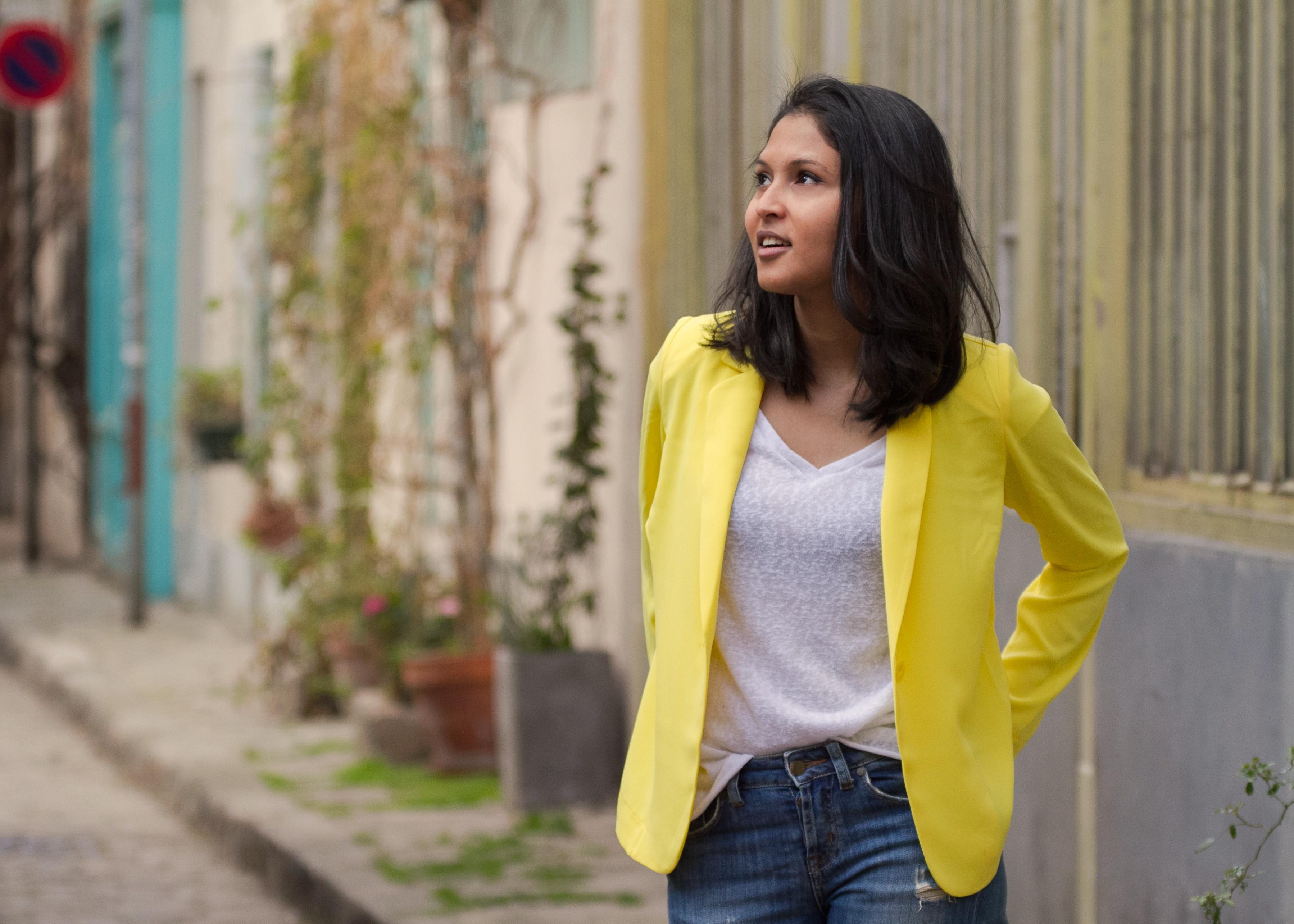 Yellow blazer-look-veste jaune Balsamik-1