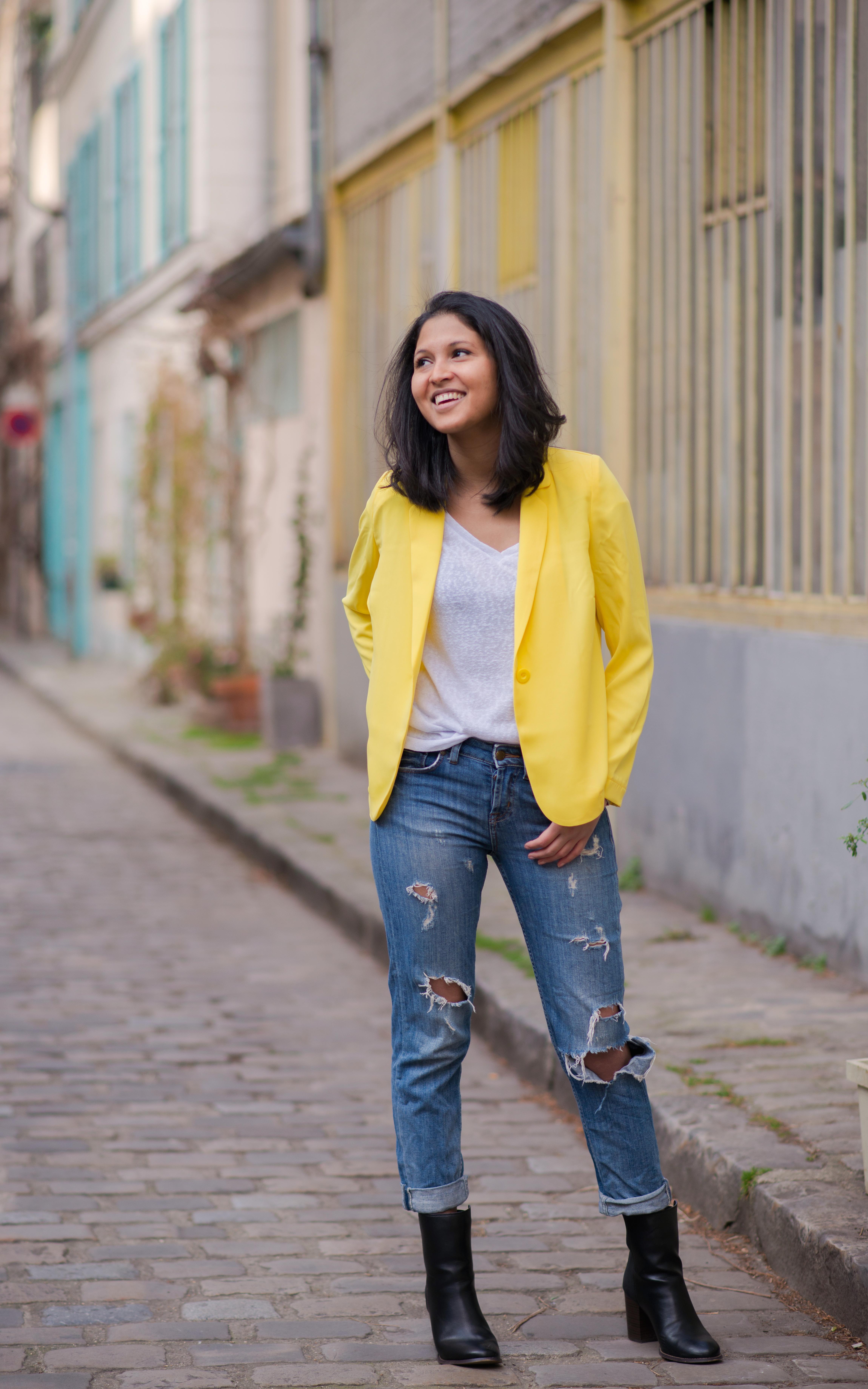 Yellow blazer-look-veste jaune Balsamik-boots Asos