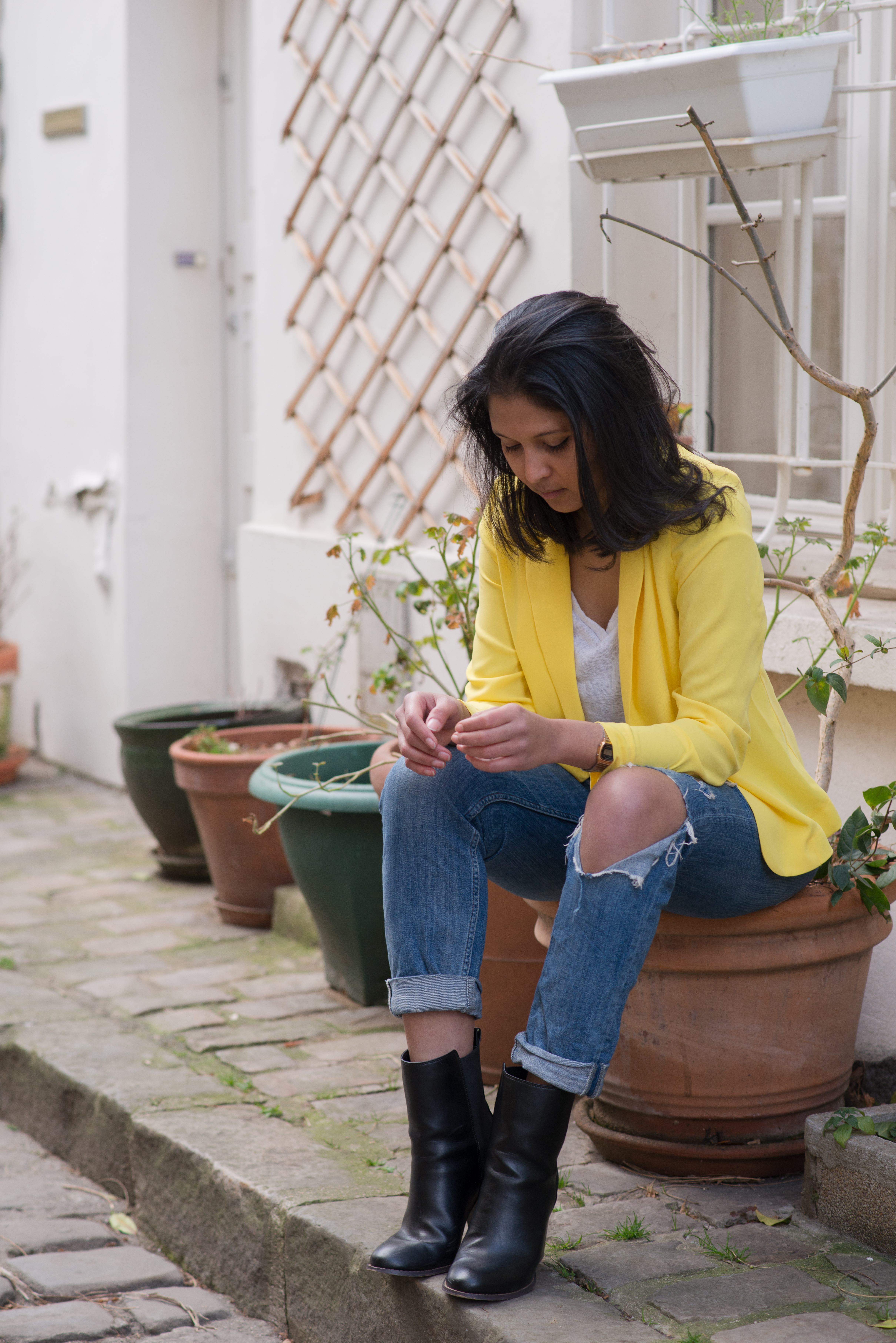 Yellow blazer-look-veste jaune Balsamik-jean HM-Boots Asos-4