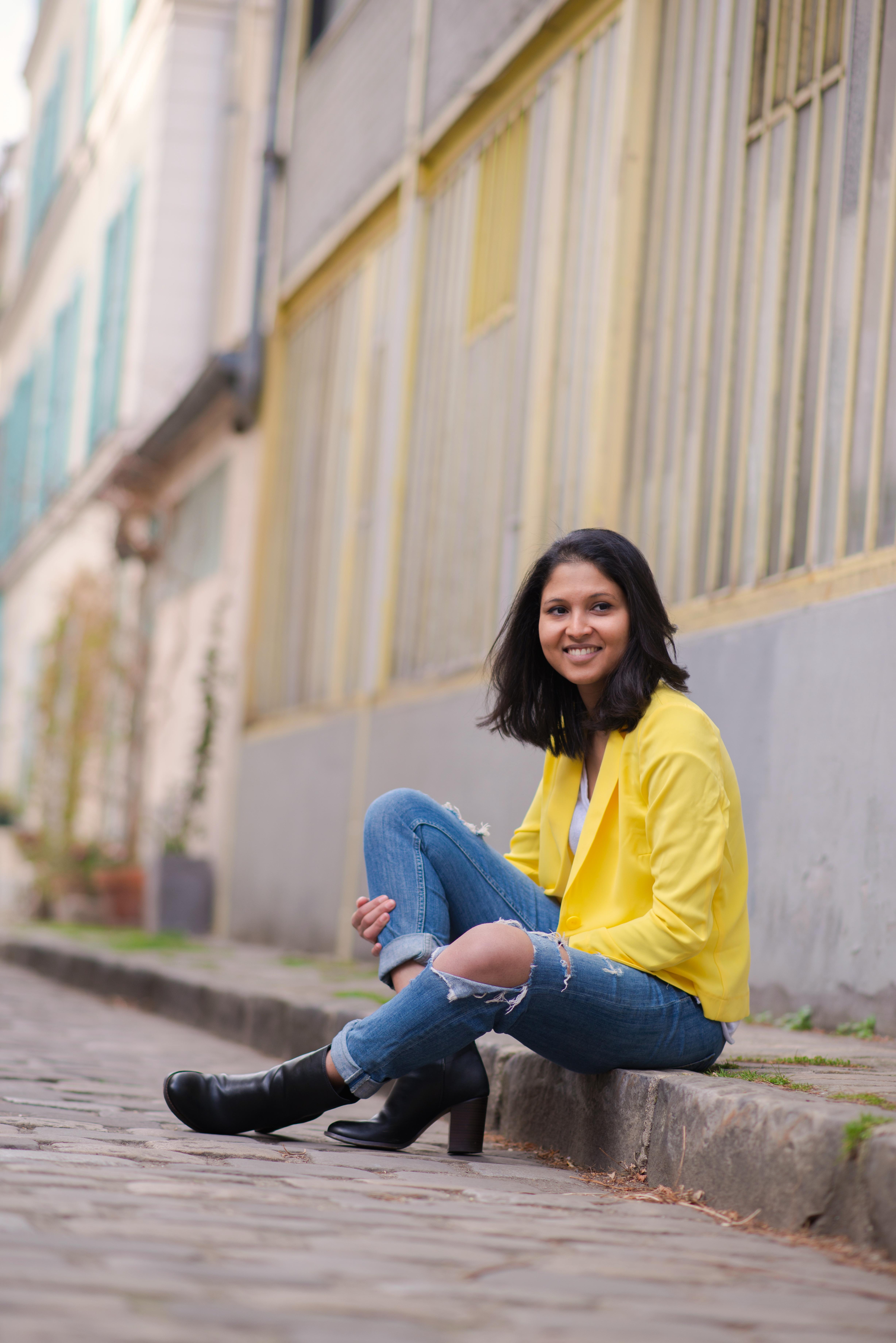 Yellow blazer-look-veste jaune Balsamik-jean HM-Boots Asos