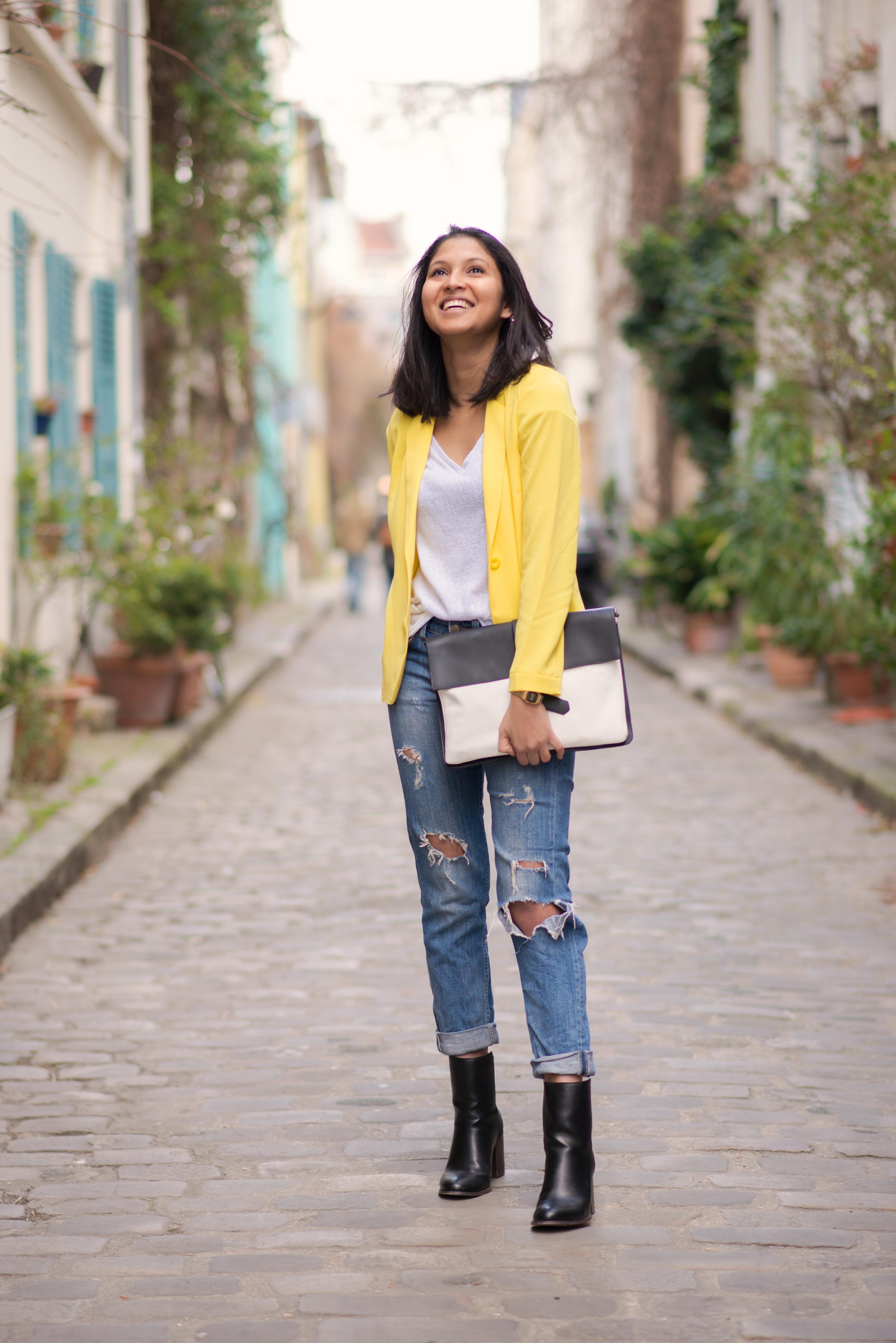 Yellow blazer-look-veste jaune Balsamik-jean HM