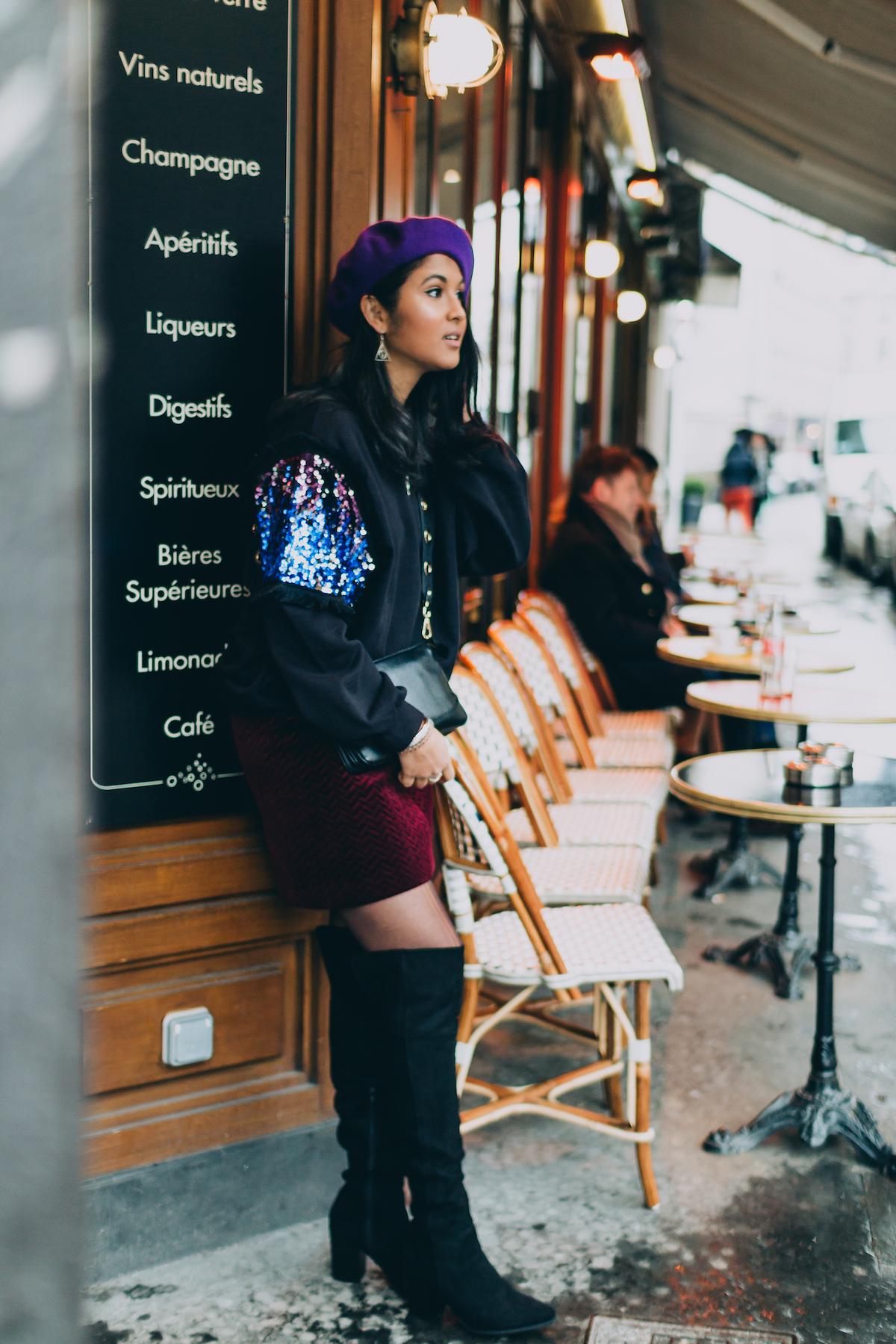 look-beret-violet-sweat-noir-cuissardes-1